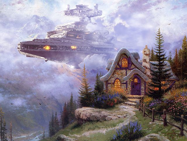 "When Star Wars invades Thomas Kinkade paintings [6 pictures]November 6, 2013 | No CommentsIn his series ""War on Kinkade,"" digital artist Jef..."