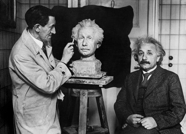 Albert Einstein posing for his sculpture's creation. 1930