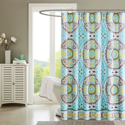Madison Park Samara Printed Shower Curtain in Aqua - BedBathandBeyond.com