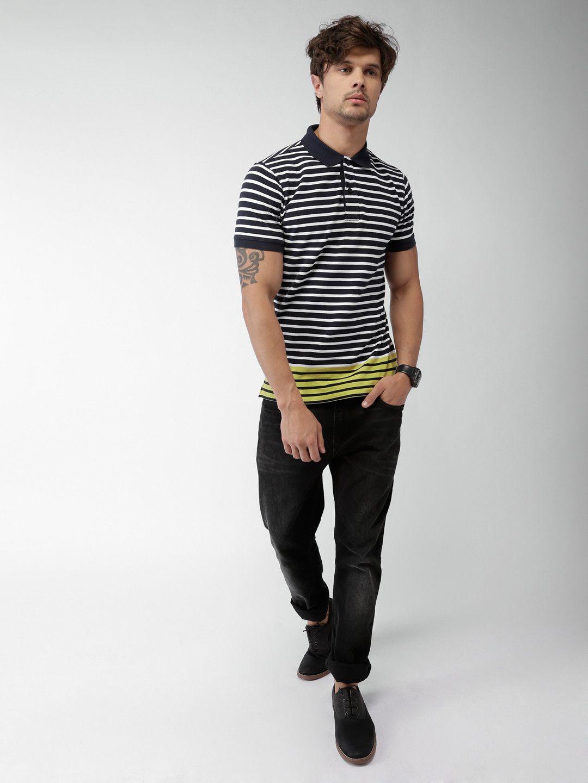 d1062f91d831 Tommy Hilfiger Navy Blue Striped Slim Fit Polo T-shirt