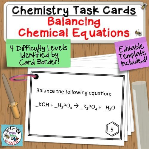 Balancing Equations Worksheet Template Chemistry Task Card Set
