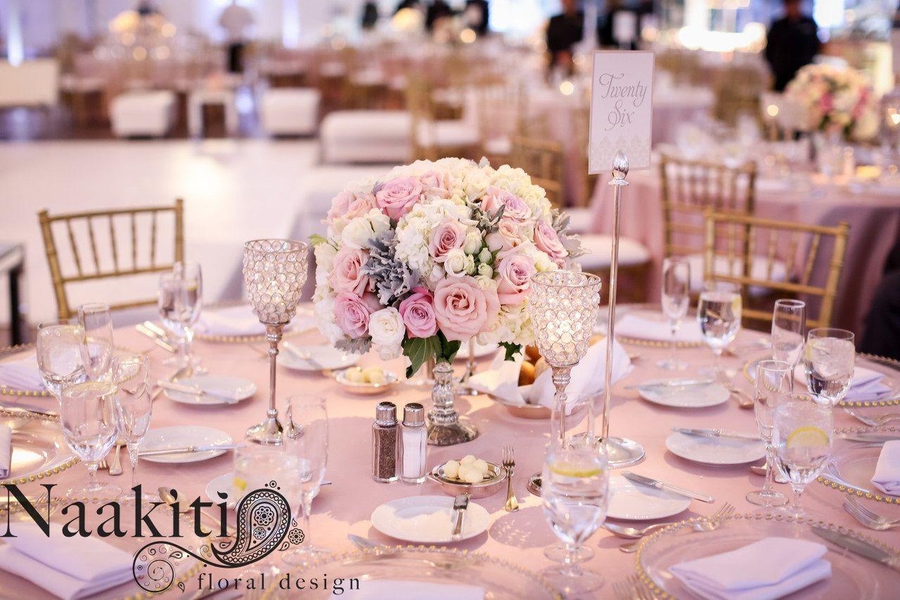 Low Centerpieces - white hydrangea, sahara roses, faith ...