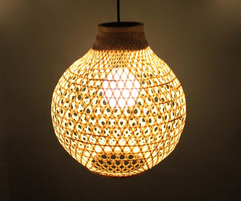 Natural Bamboo Gourd Shaped Pendant Lights Decorative Lighting