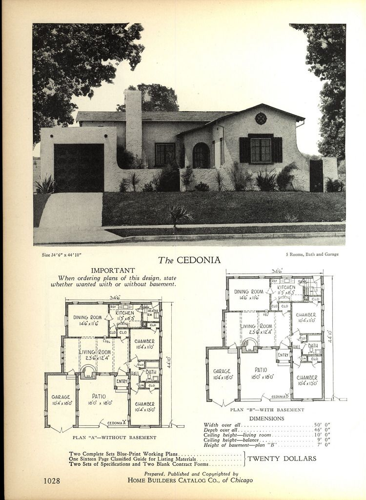1928 Home Builders Catalog Bungalow House Plans Spanish Bungalow Spanish Style Homes