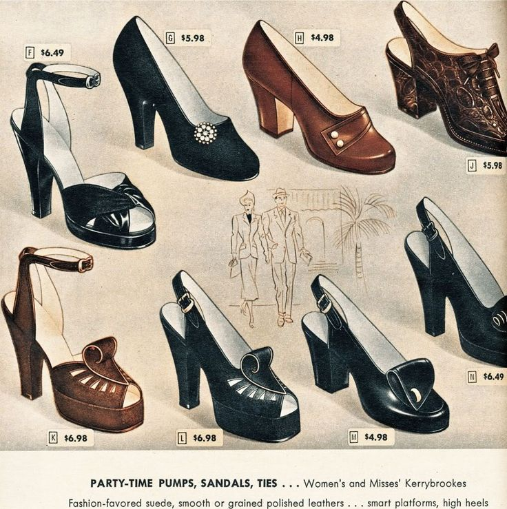 Shoe Guide Vintage Shoe Styles From The Twenties To The Fifties 1940s Shoes Vintage Shoes Retro Fashion Vintage