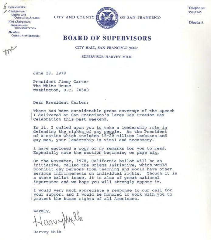Letter Sent From Harvey Milk To President Jimmy Carter On June