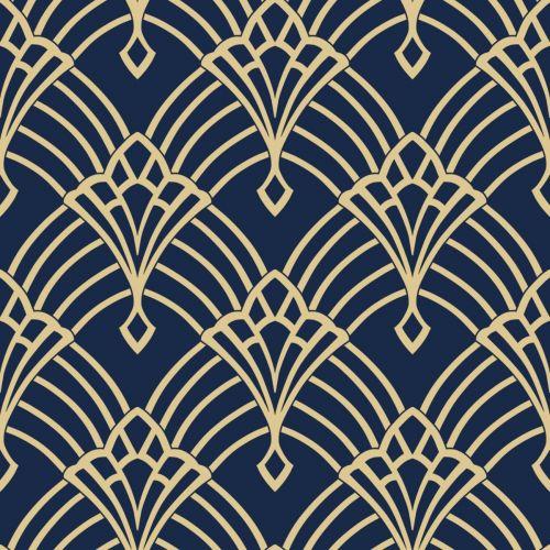 Waldorf Art Deco Wallpaper Navy Gold World Of Wallpaper 274447 Art Deco Wallpaper Geometric Art Art Deco Bedroom