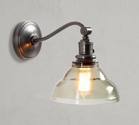 Pb Classic Vintage Glass Pendant Hood Amp Bronze Curved Arm