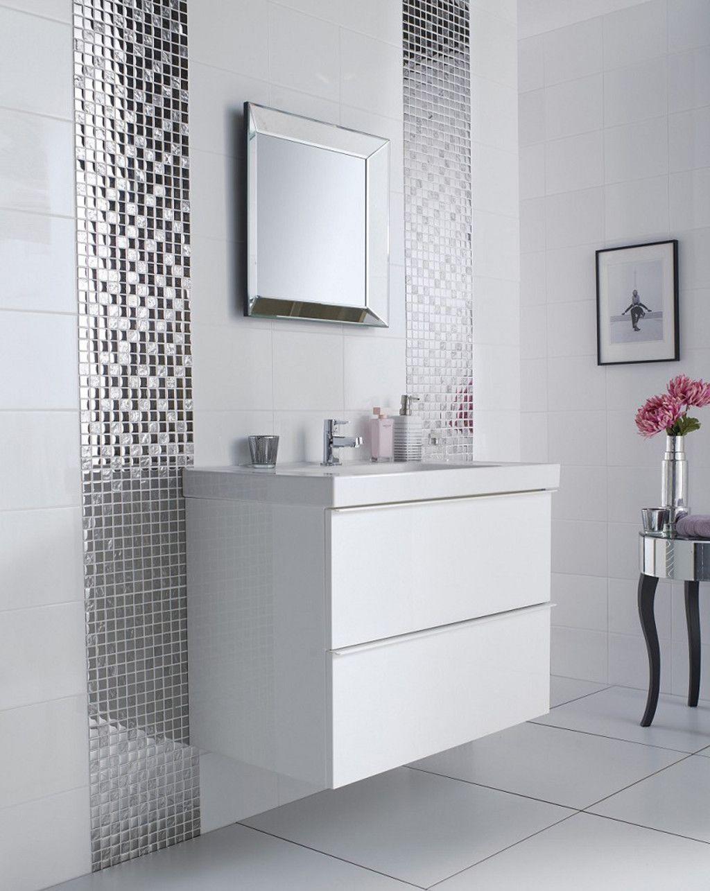 Bathroom: Enchanting Mirrored Tile Backsplash For Modern Home ...