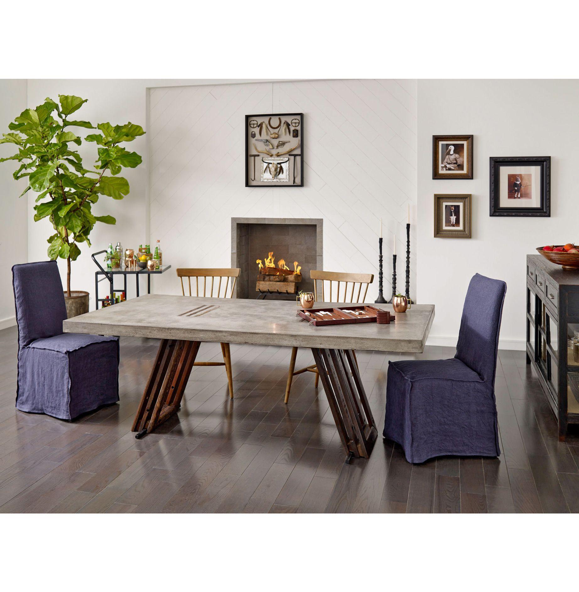 Lena Modern Classic Navy Blue Wrinkle Linen Slipcover Dining Chair - PAIR Side