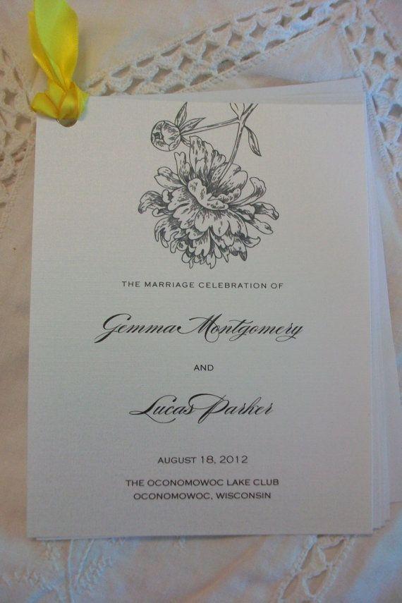 Wedding Program Sample of Emma Monogram or ANY by cdkane59 H A N +