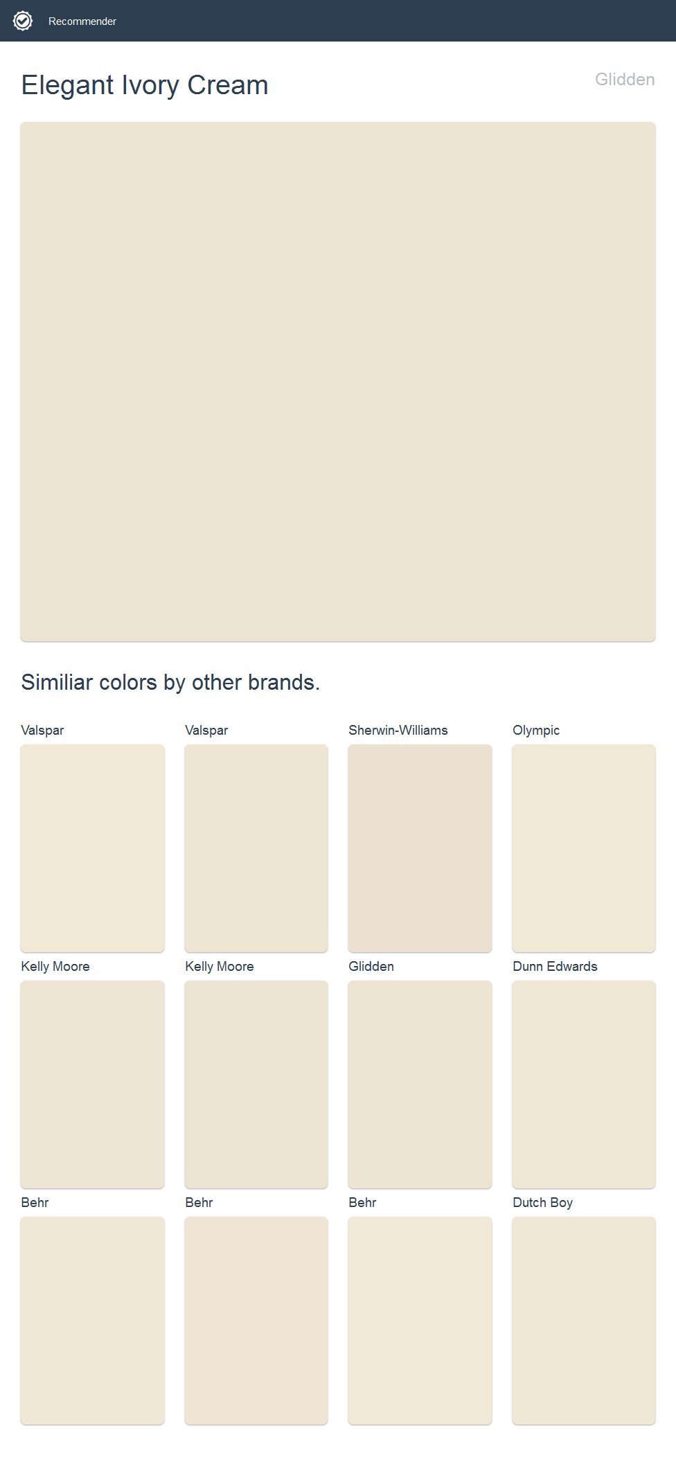 Elegant Ivory Cream Glidden Click The Image To See Similiar Colors By Other Brands