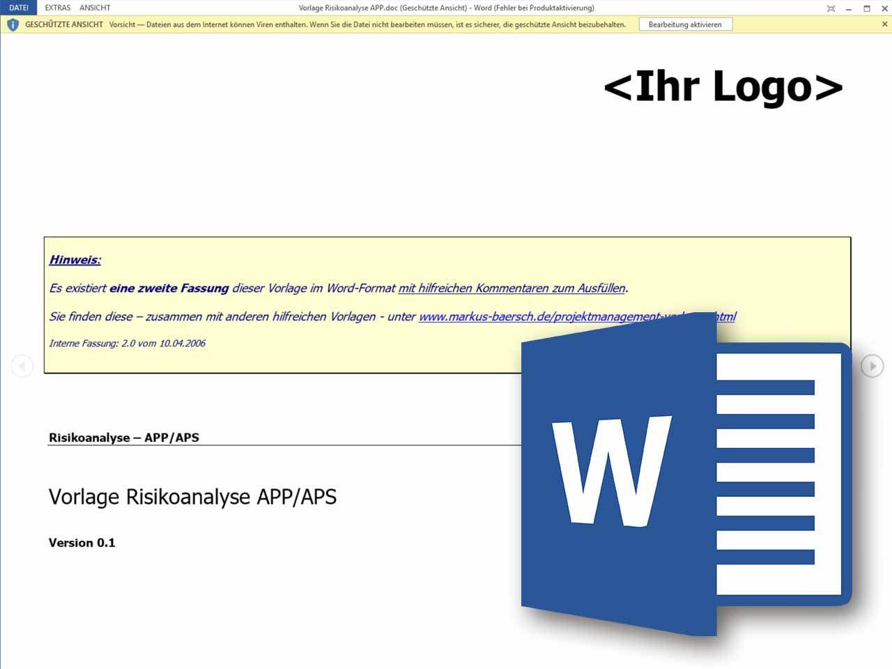 Word Vorlage Risikoanalyse App Aps Vorlagen Projektmanagement Excel Vorlage