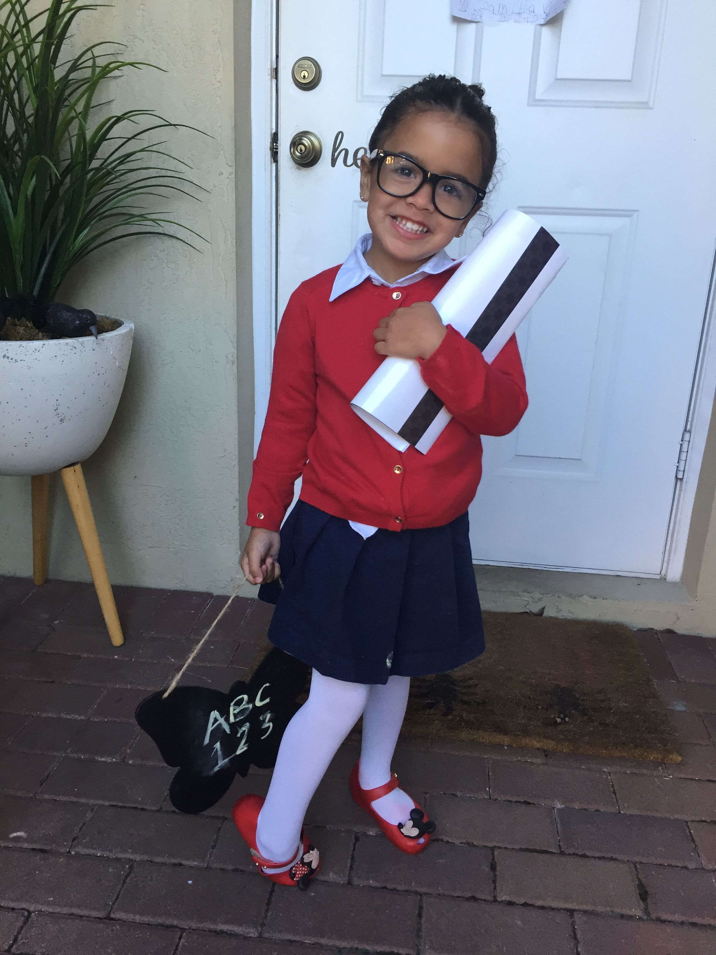 Halloween Or Career Day Teacher Costume Easy And Affordable Use The Clothes You Have At Home Add Glasses And A Teacher Costumes Career Costumes Dress Up Day