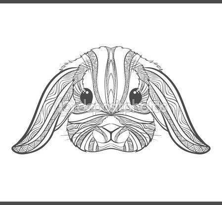 Conejo para colorear contornos en estilo boho. Liebre étnicos ...