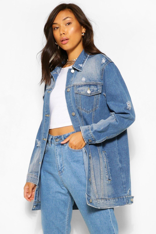 Distressed Longline Denim Jacket Boohoo Longline Denim Jacket Denim Jacket Blue Denim Jacket [ 1500 x 1000 Pixel ]