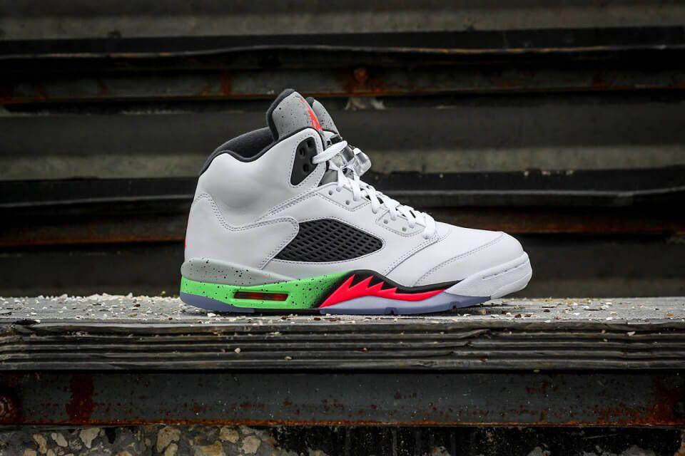 ... Get a closer look of the Nike Air Jordan 5 Retro Poison Green ahead of  Saturday