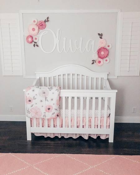 Sweet Jojo Designs Watercolor Floral Crib Bedding Collection In Pink Grey Buybuy Baby Girl Nursery Room Ideas