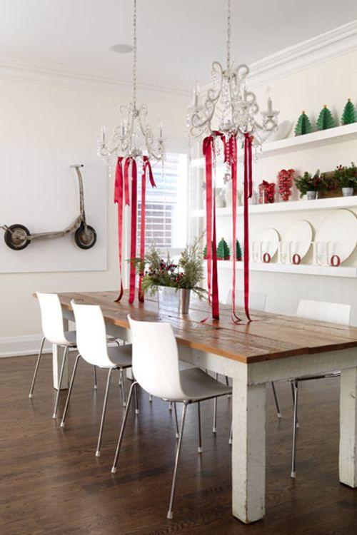 decoracion-navidad-ideas-simples-comedor Candil con listones - christmas decorating ideas