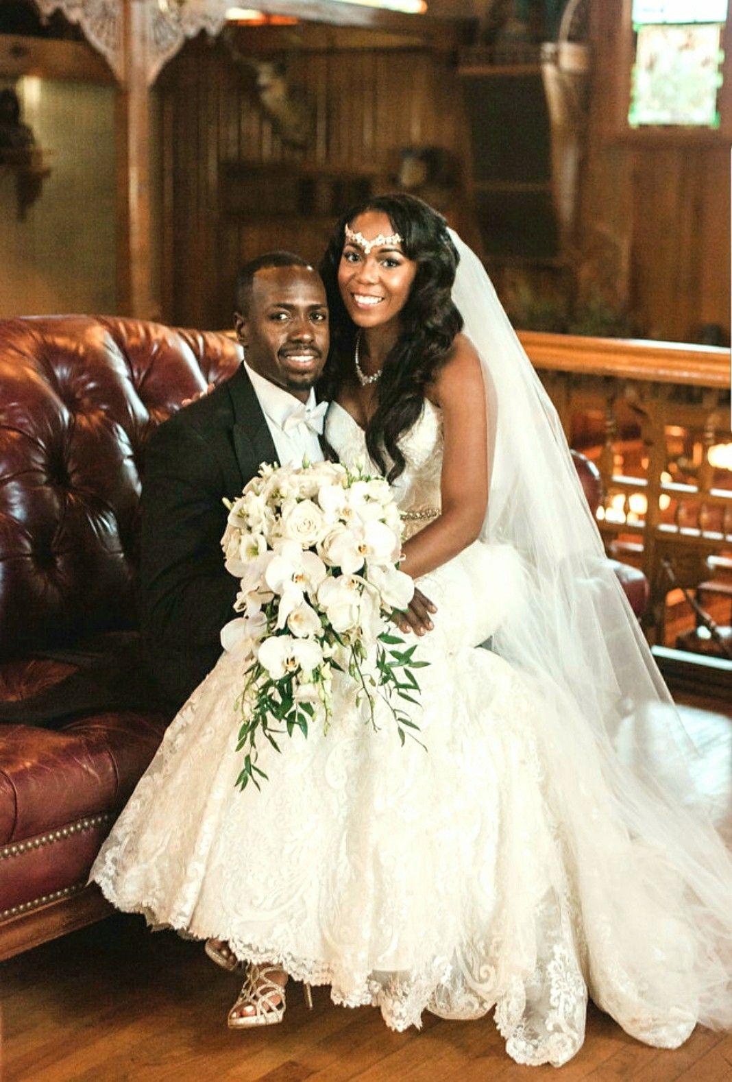 Black Brides African American Bride Groom Haitian Grooms Ivory Wedding Dress Cascade Bouquet