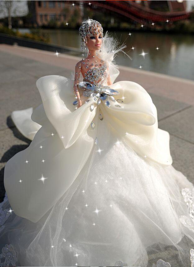 Luxury Diamond Edged Lovely Princess Wedding Gown 45 50 Barbies