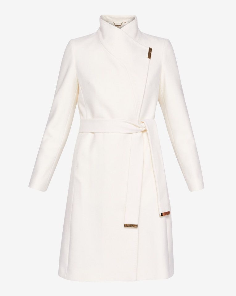 261957e25 Long wrap coat - Ivory
