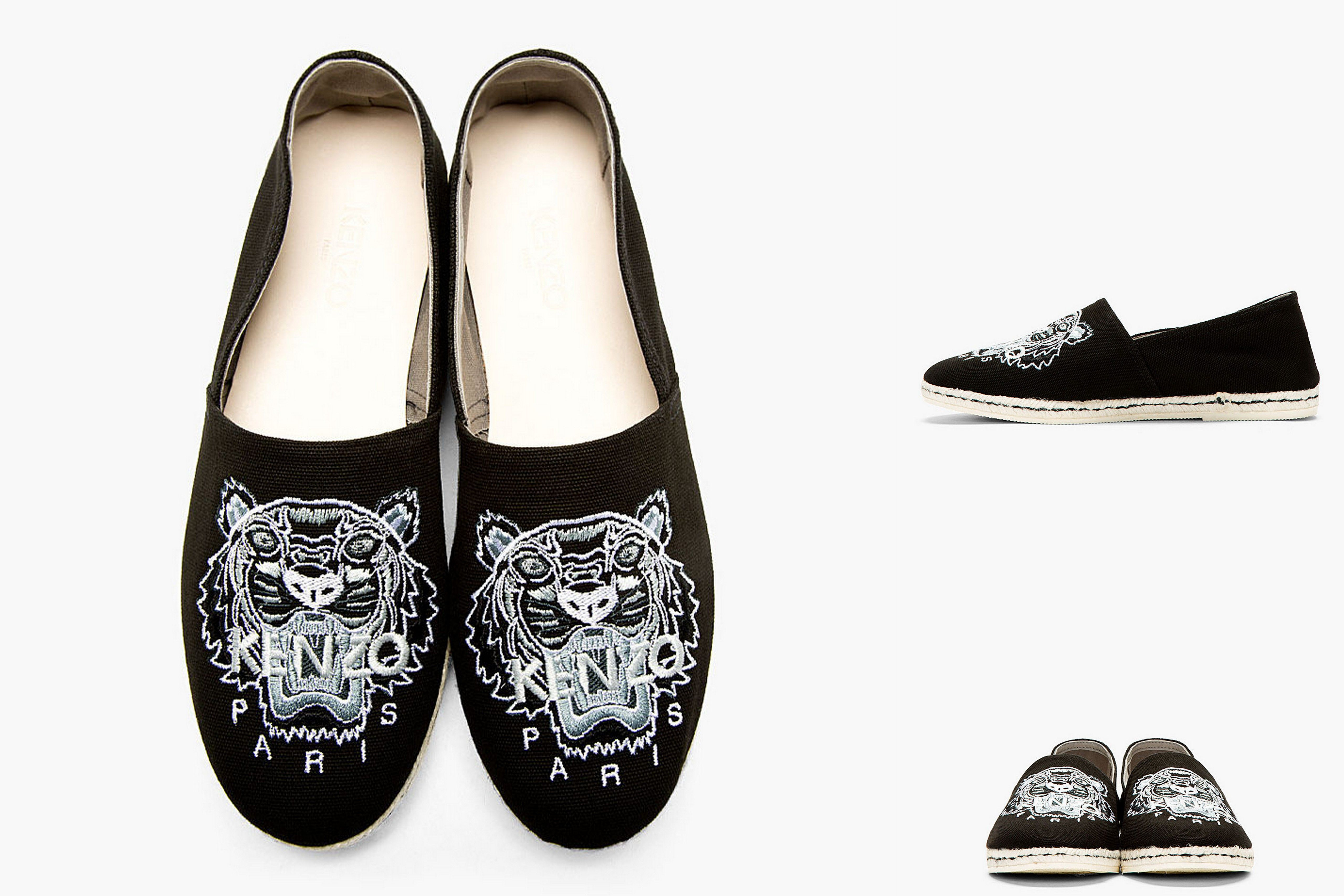 73f1fb55d8d Finds: Kenzo Black & White Embroidered Tiger Spoon Espadrilles - http://