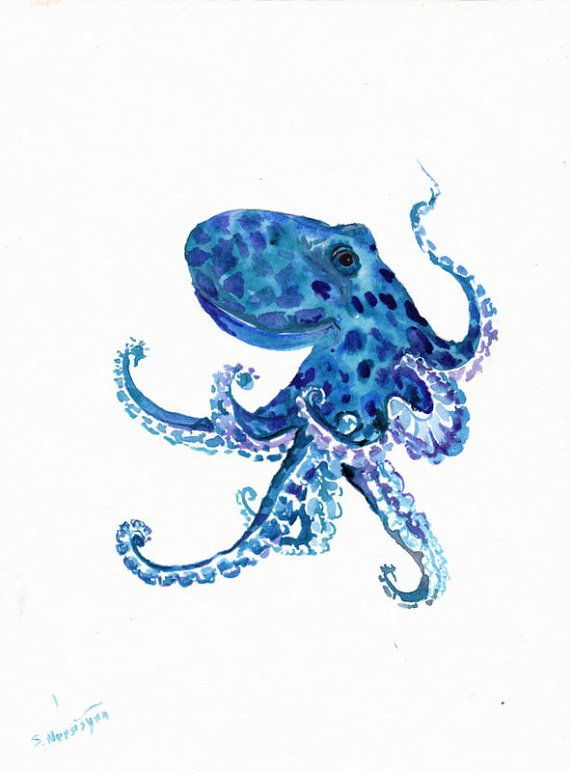 Octopus Original Watercolor Painting Sea Animal By Originalonly