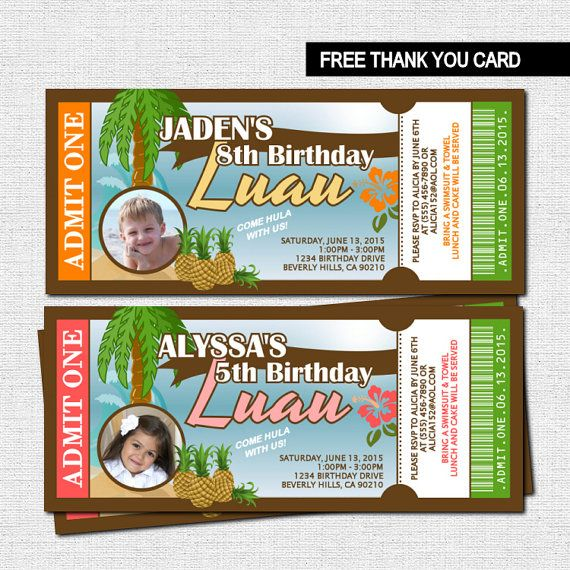 LUAU TICKET INVITATIONS Hawaiian Birthday + Bonus Thank You Card - printable ticket invitations