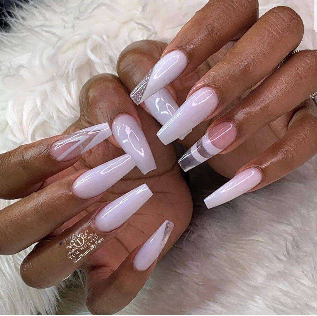 Milky White Nail Design White Acrylic Nails Long Square Acrylic Nails Kylie Nails