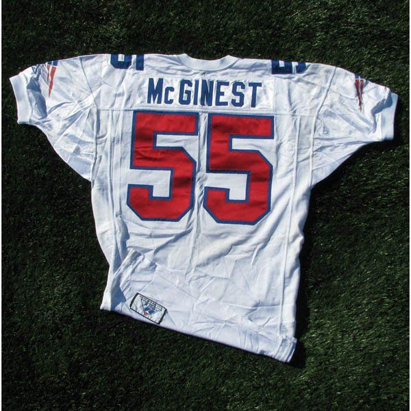 super popular dfc0c 22a88 1994 Willie McGinest Game Worn #55 White Jersey #Patriots ...