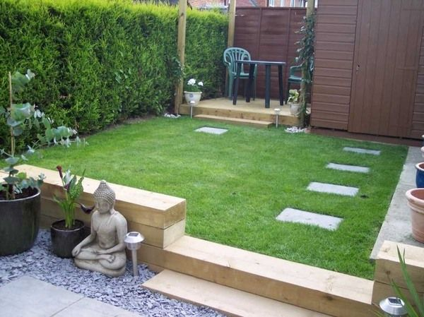 railway sleepers small garden design ideas small patio deck