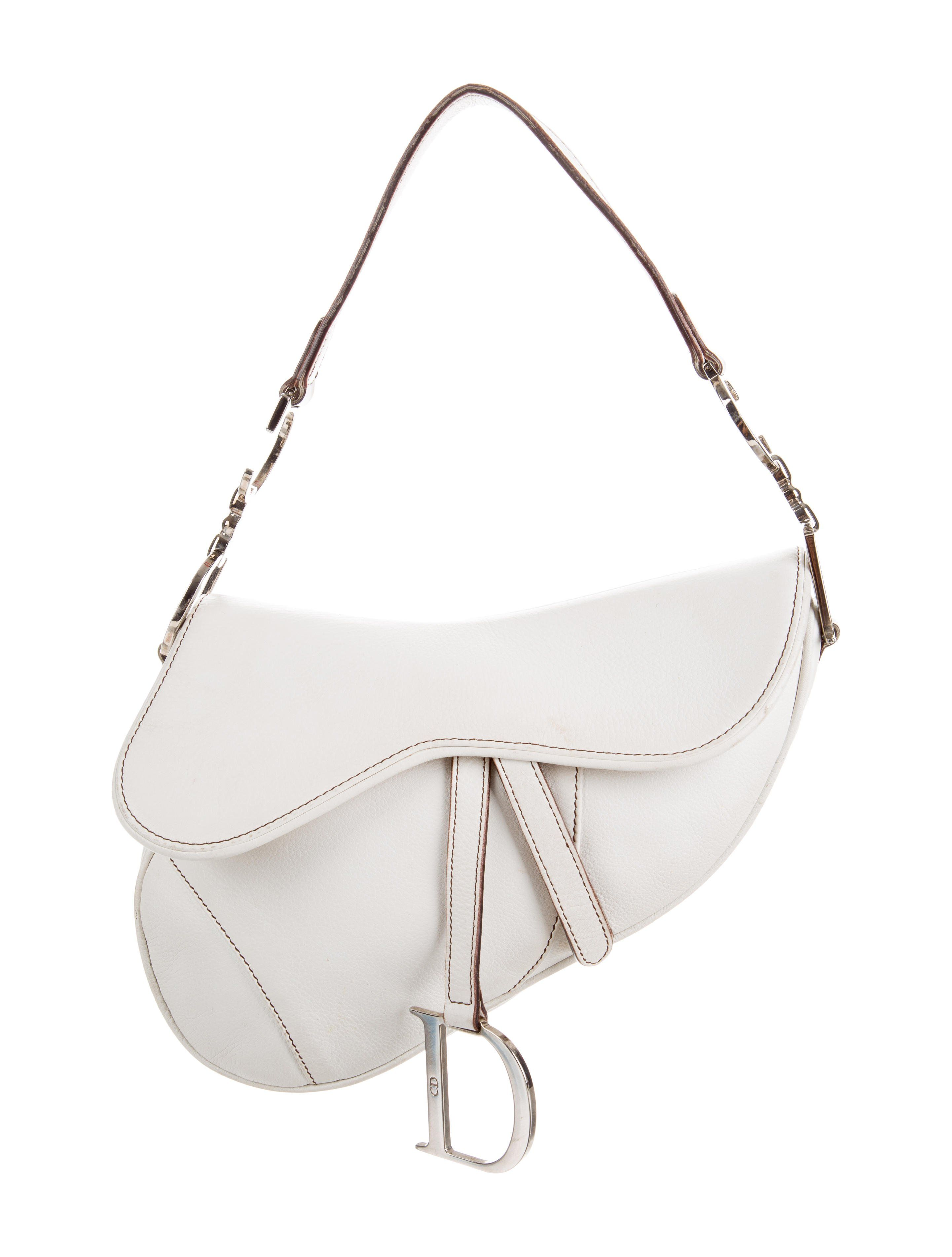 1b617a327303 White leather Christian Dior Saddle bag with silver-tone hardware