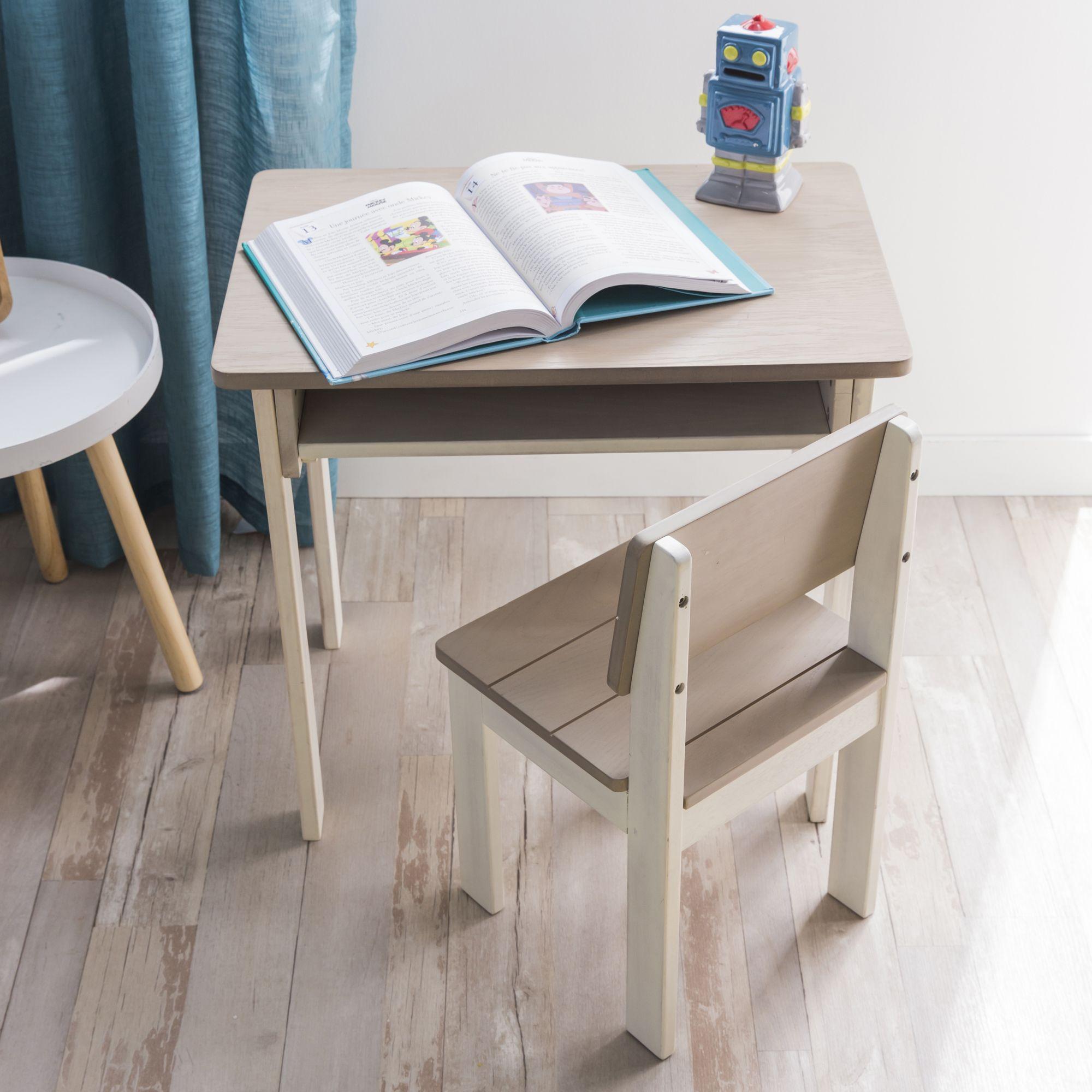 Jules Table En Acacia Blanche Et Grise Pour Enfant Alinea Home Decor Furniture Drafting Desk