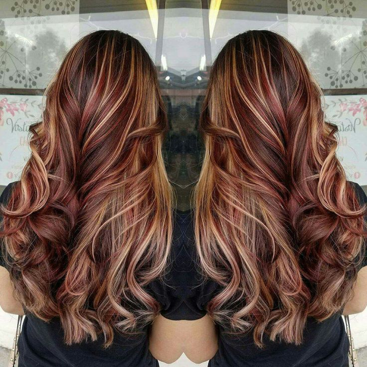 Brown Hair With Blonde And Red Highlights Hair Pinterest Red