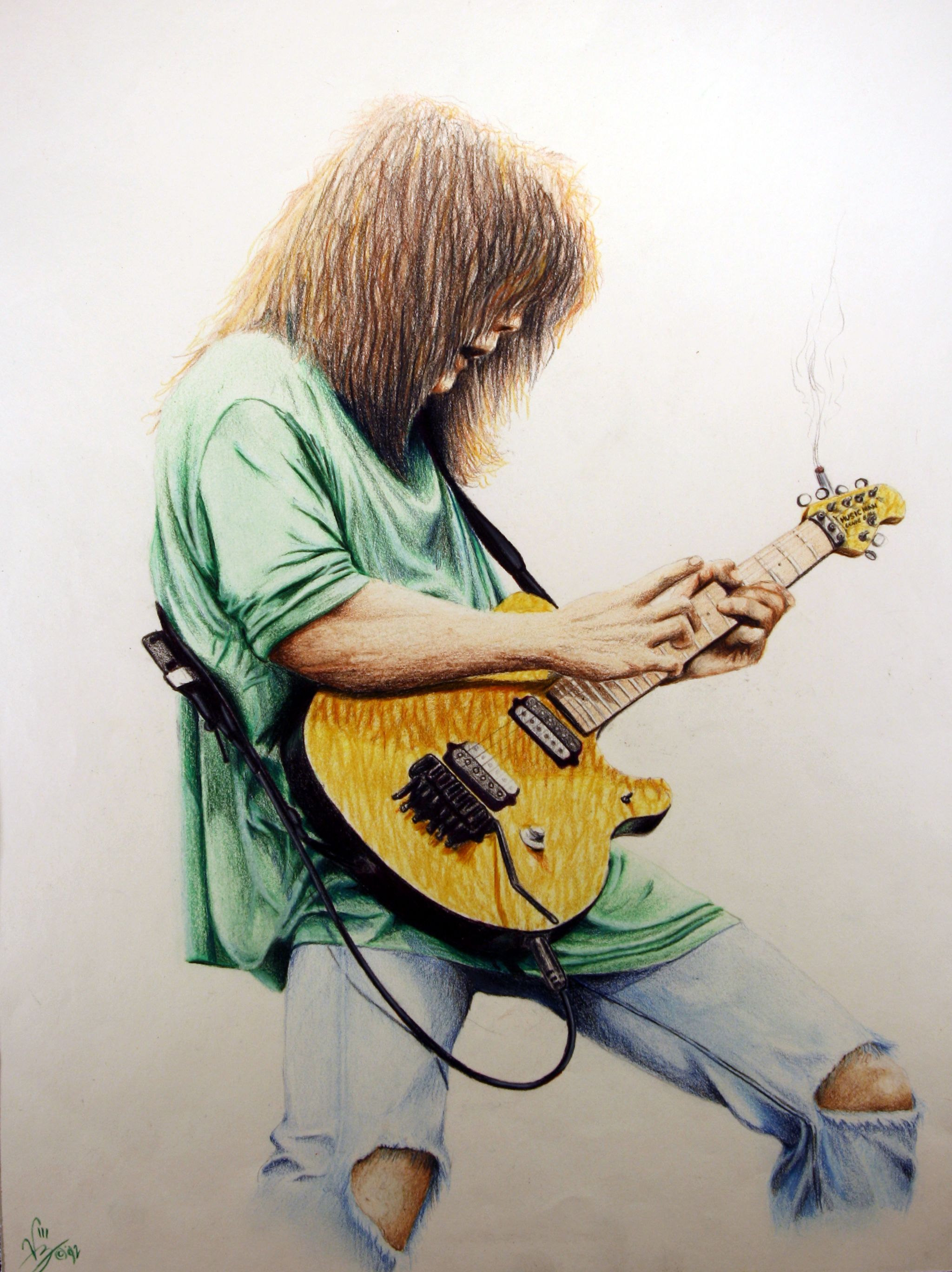Eddie Van Halen 16 X 20 Color Pencil On Paper 1992 Eddie Van Halen Music Art Drawing Sketches