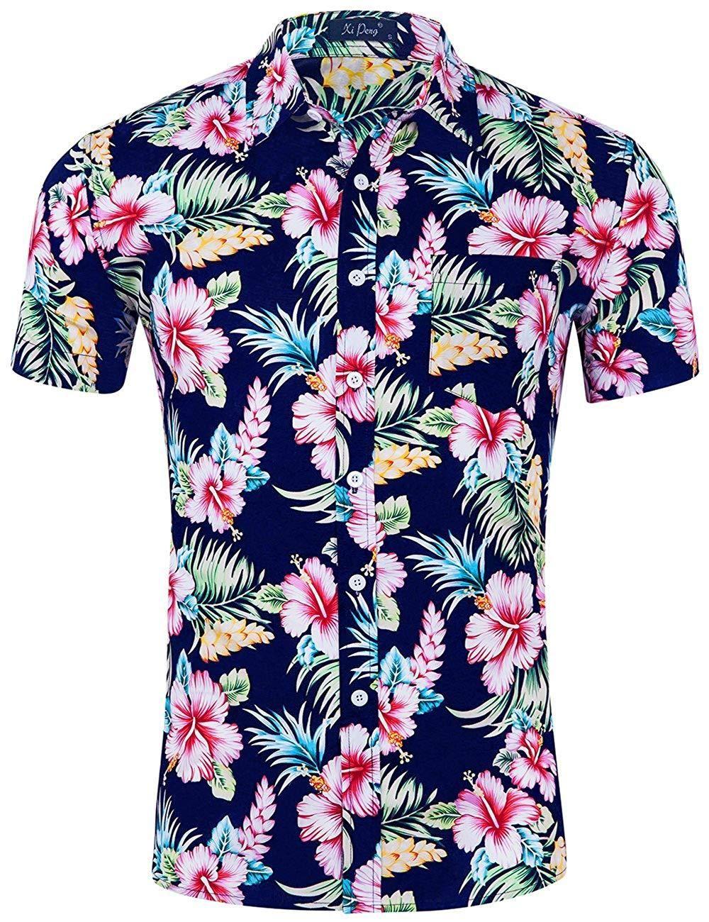 Hawaiian Mens Short Sleeve Casual Shirts Flower Floral Printed Dress Shirt Tops