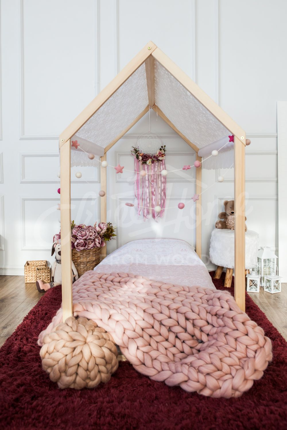 Wooden House Bed Frame Platform Bed Teepee Bed Wood Bed Frame Tent Bed Kids Bed Wood House Bed Children Bed