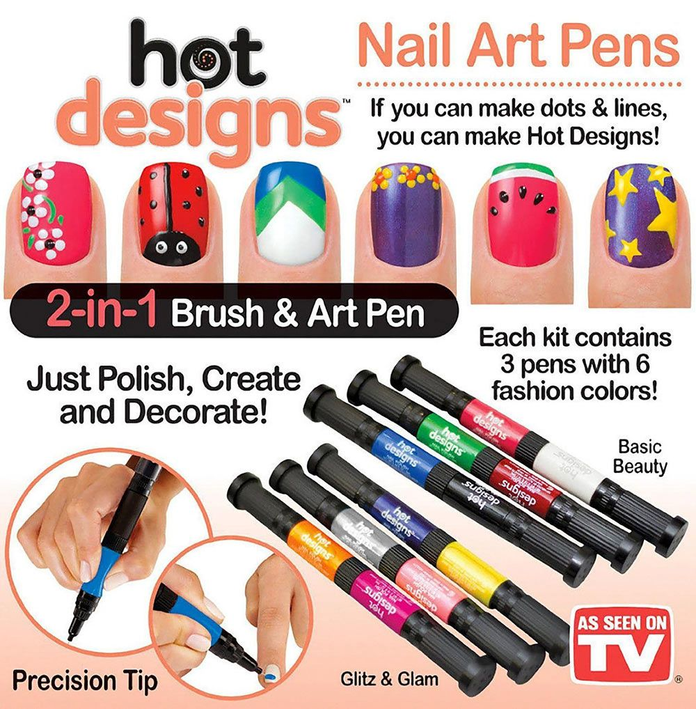 Nuevo sorteo lpices especiales para hacer diseos de uas 6 color starter kit hot design nail art basic kit red blue green black white pink salon polish pen brush as seen on tv makeup prinsesfo Image collections