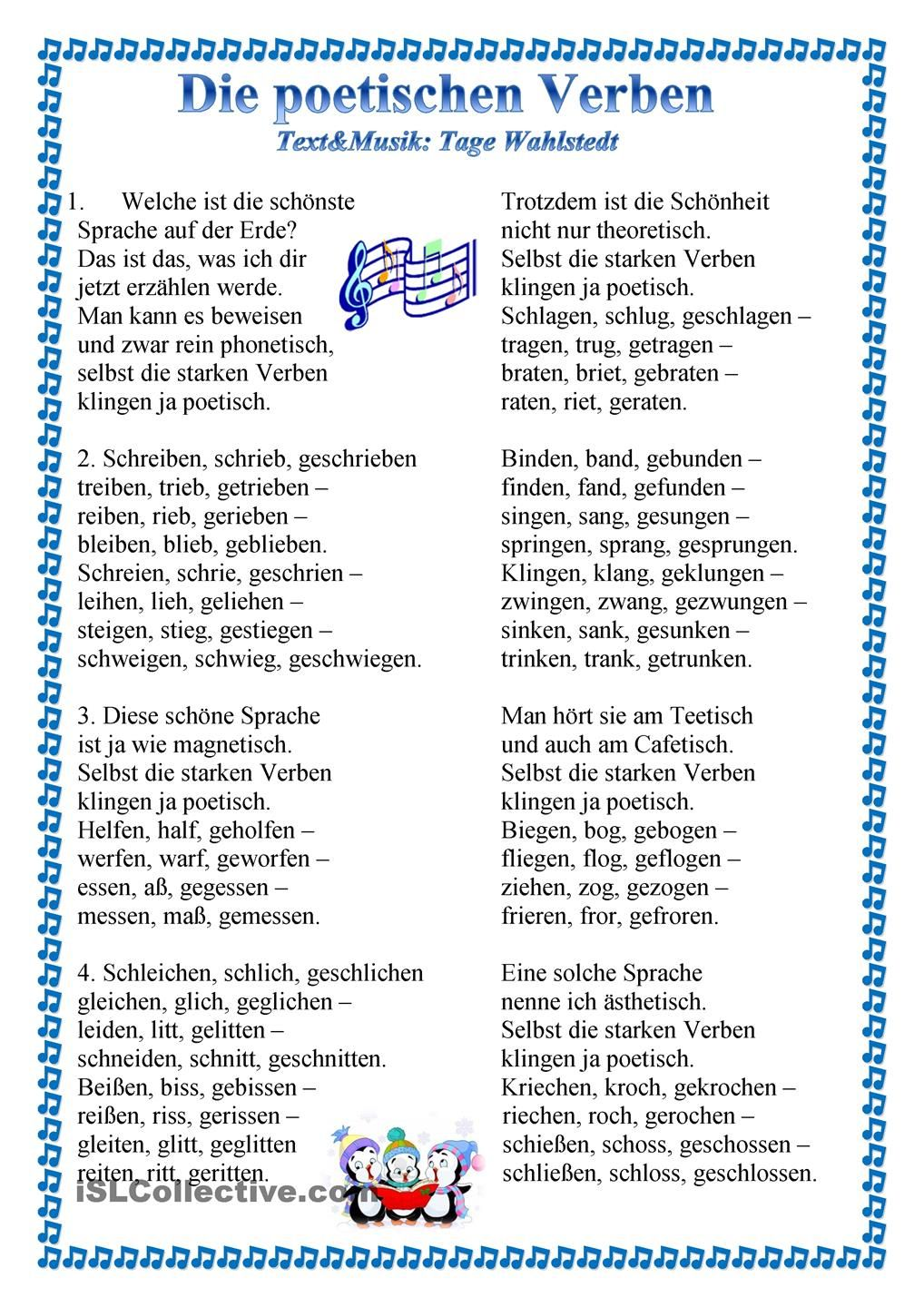 Die poetischen Verben | Studying | Pinterest | German language and ...