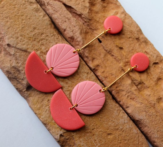 Floral Terracotta Dangly Earrings Handmade Polymer Clay