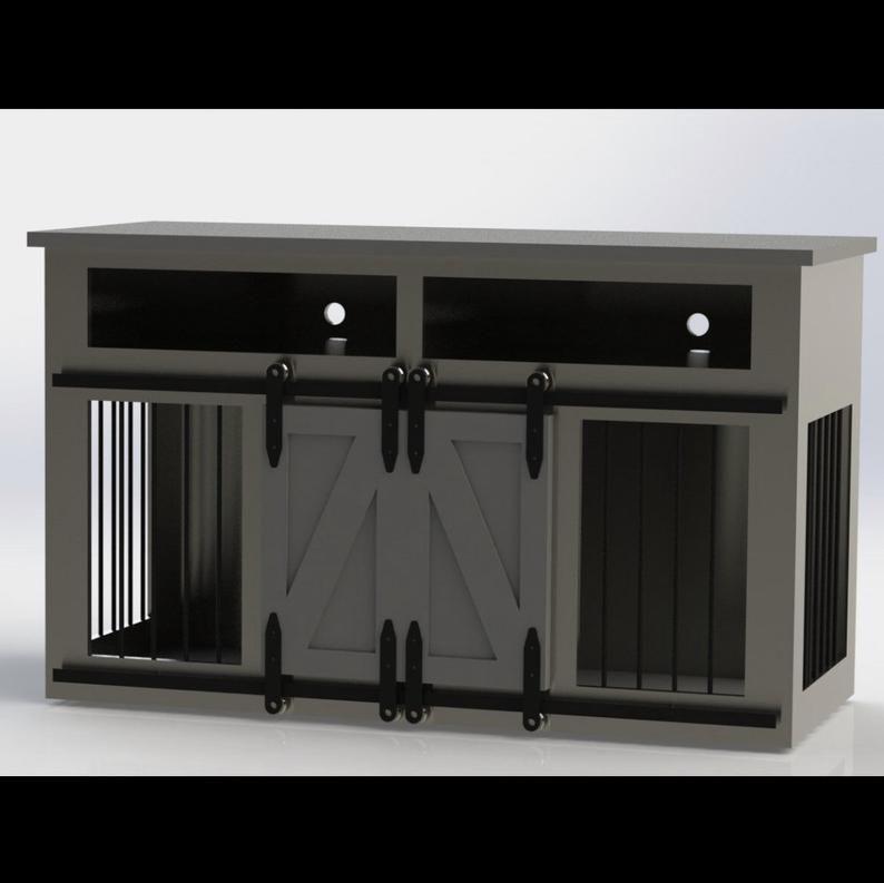 Rustic Dog Crate Media Center w/ shelves Sliding barn
