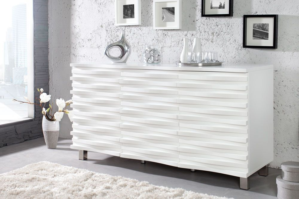 elegantes design sideboard craze 150cm weiss matt kommode schrank wohnzimmer living room. Black Bedroom Furniture Sets. Home Design Ideas