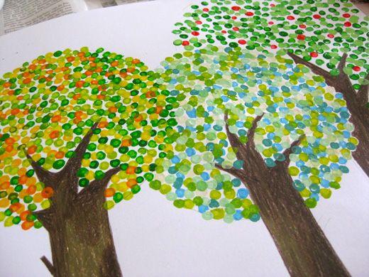 bäume mit wattestäbchen malen | Zukünftige Projekte | Pinterest