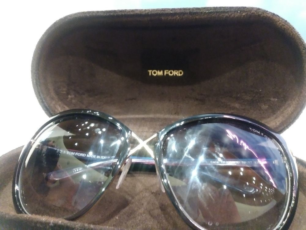0e63e384cc5749 TOM FORD TF 322 32B CELIA BLACK SUNGLASSES AUTHENTIC T322 59-17 W CASE   fashion  clothing  shoes  accessories  womensaccessories ...
