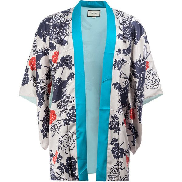 83789f20b22 Gucci Japanese print kimono jacket ($3,150) ❤ liked on Polyvore featuring  men's fashion,