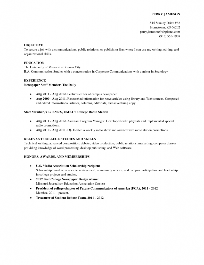 College Student Resume Skills Template Examples Resumes For