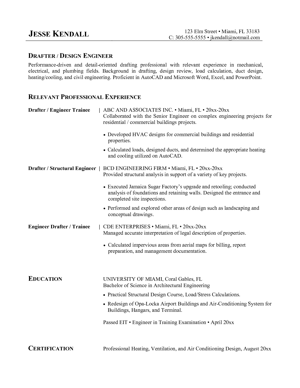 Top Hvac Engineer Resume Samples Domainlives