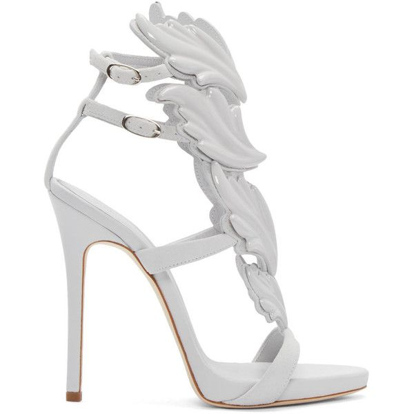 Giuseppe Zanotti Grey Suede Cruel Sandals ($1,525) ❤ liked on Polyvore  featuring shoes,