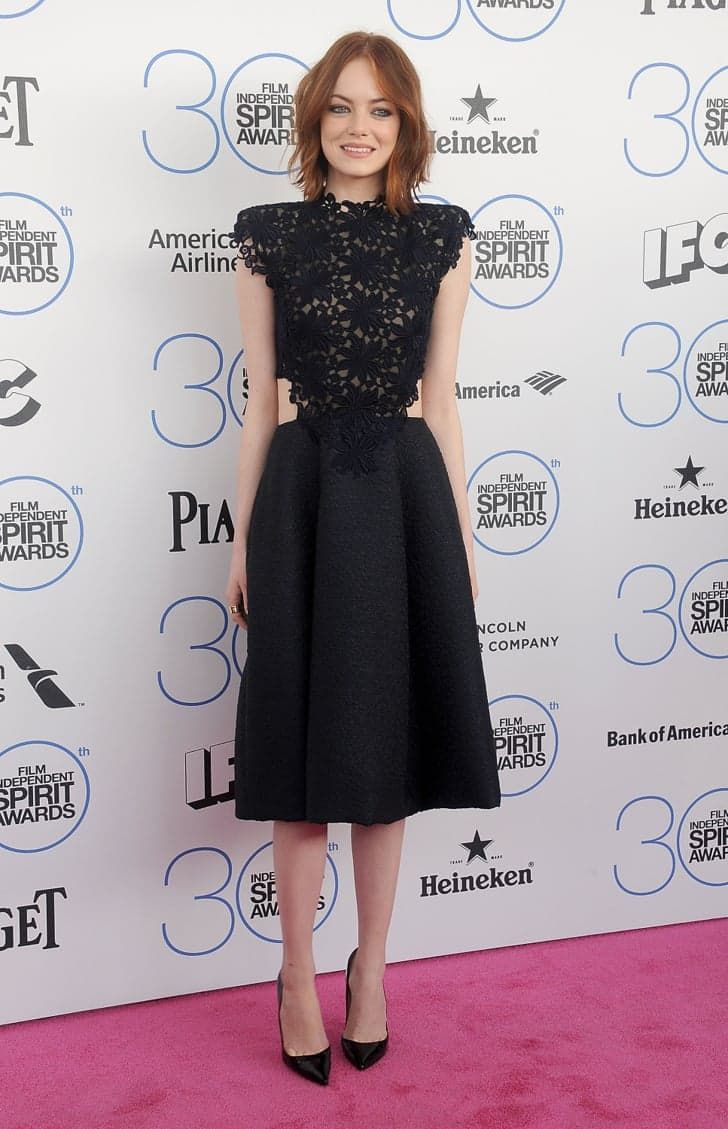 Pin for Later: This Week's Top 10 Are a Bunch of Show-Offs Emma Stone Emma stepped out at the Spirit Awards in a lacy Monique Lhuillier dress, which featured cutouts on both sides.